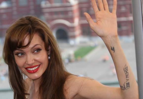 Angelina Jolie's Symbol Tattoos On Arm