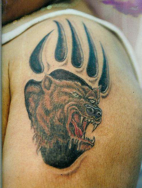 Angry Bear Paw Tattoo For Men