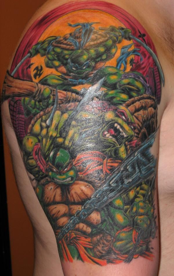 Angry Ninja Turtles Tattoos On Arm