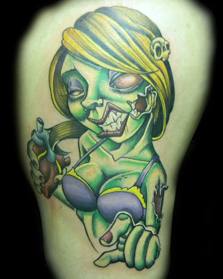 Angry Zombie Pin Up Girl Tattoo On Arm