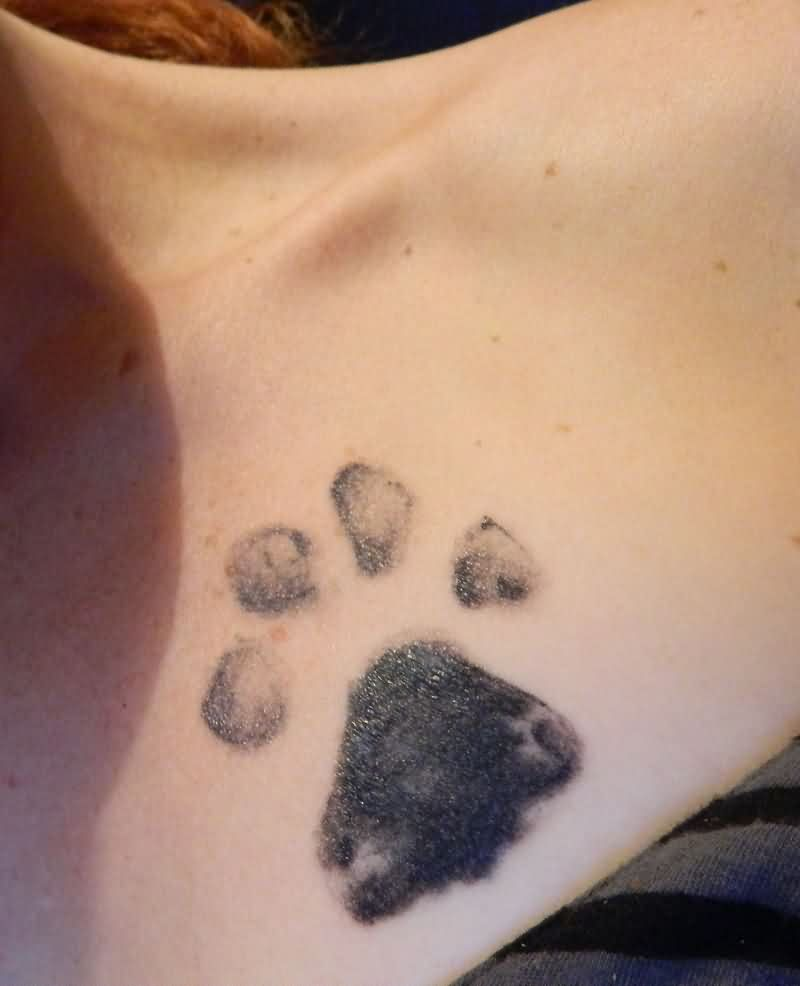 Animal Paw Print Tattoo On Chest