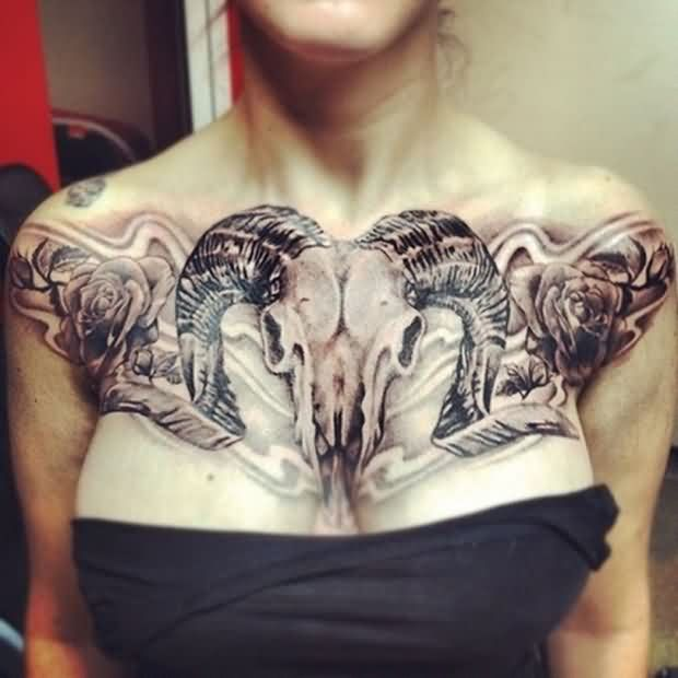 Animal Skull Roses And Flame Tattoos On Chest