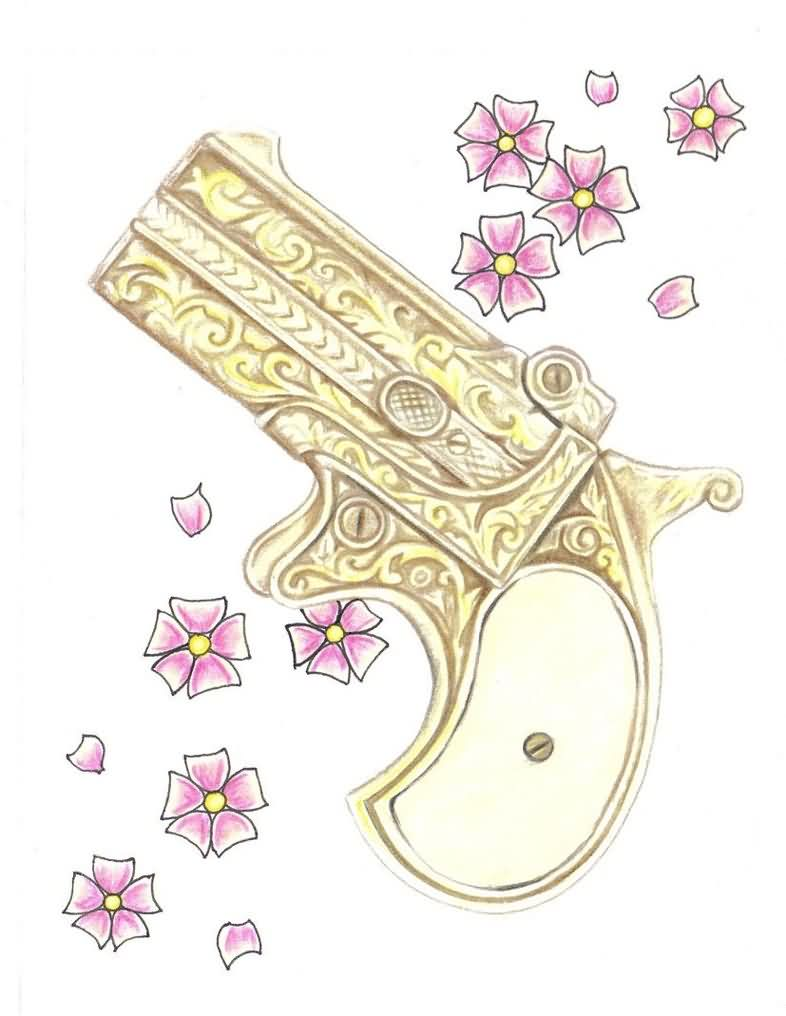 Antique Derringer Pistol And Blossoms Tattoo Designs