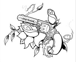 Any Name Pistol And Rose Vine Tattoo Sample