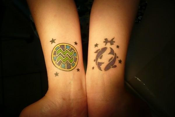 Aquarius Pisces And Stars Wrist Tattoos