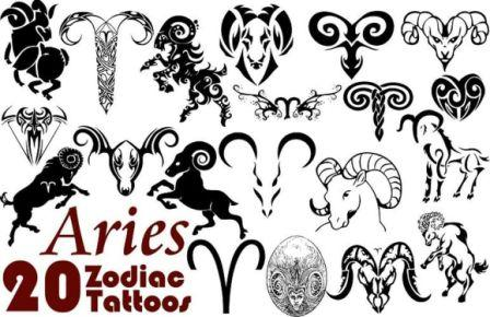 Aries Zodiac Symbol Tattoos