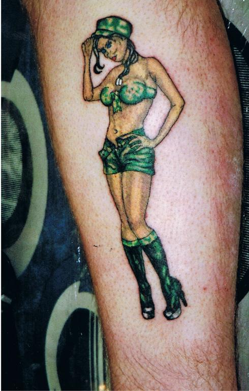 Army Pin Up Girl Thinking Tattoo On Arm