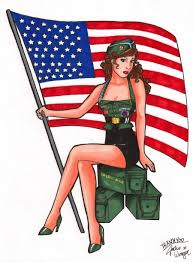 Arny Pin Up Girl With US Flag Tattoo Design