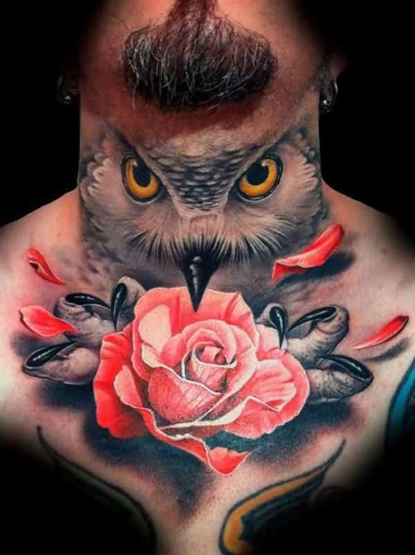 Artistic Owl And Pink Rose Tattoos For Men