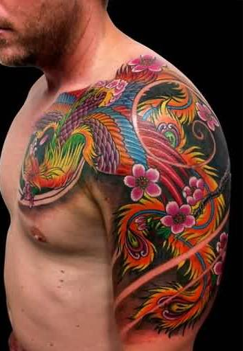 Asian Multi Color Phoenix Tattoos