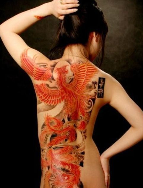 Asian Red Phoenix Tattoo On Backbody