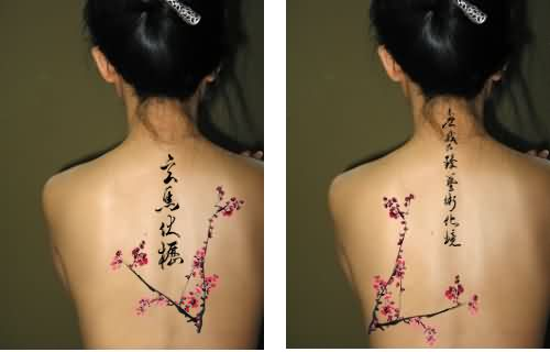 Asian Symbols And Blossoms Branch Tattoos