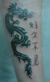 Asian Tribal Dragon And Symbol Tattoos