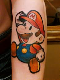 Awesome Mario Tattoo For Arm