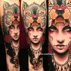 Awesome Native American Wolf Girl Tattoos