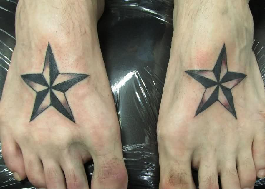 Awesome Nautical Star Tattoos On Feet