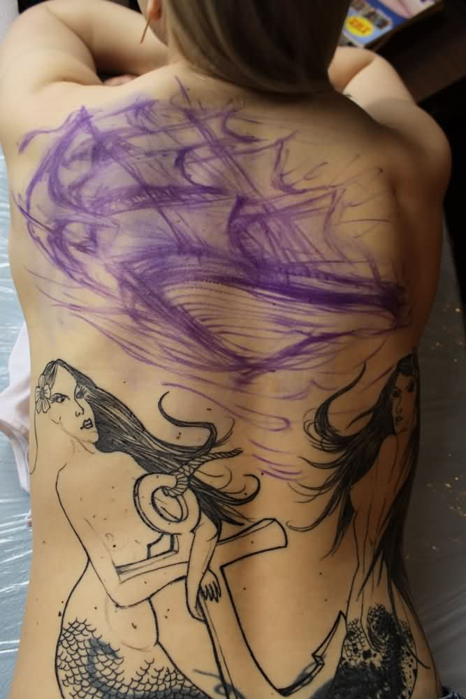Awful Nautical Tattoos On Entire Back