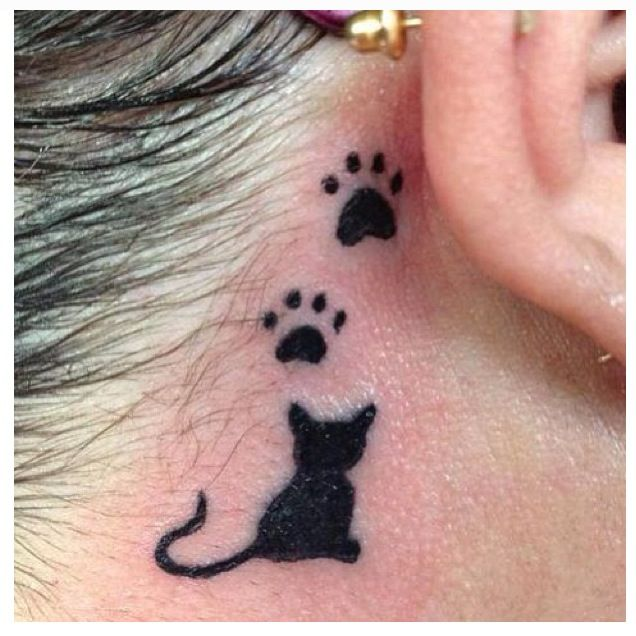 Back Ear Cat Pawprints Tattoo Trend For Girls