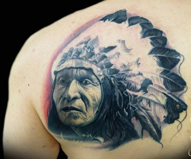 Back Shoulder Native American Tattoo