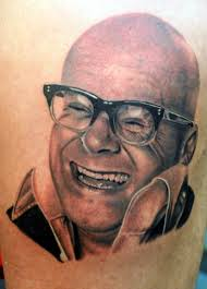 Bald Smiling People Portrait Tattoo