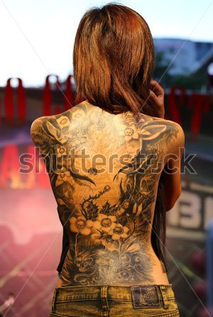 Bangkok Thailand October Unidentified Contestant's Tattoos