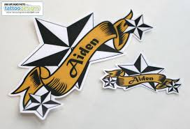 Banner And Nautical Star Tattoos Stickers
