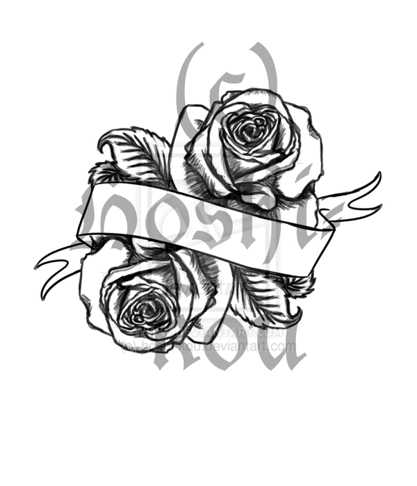 Banner And Roses Tattoos Flash