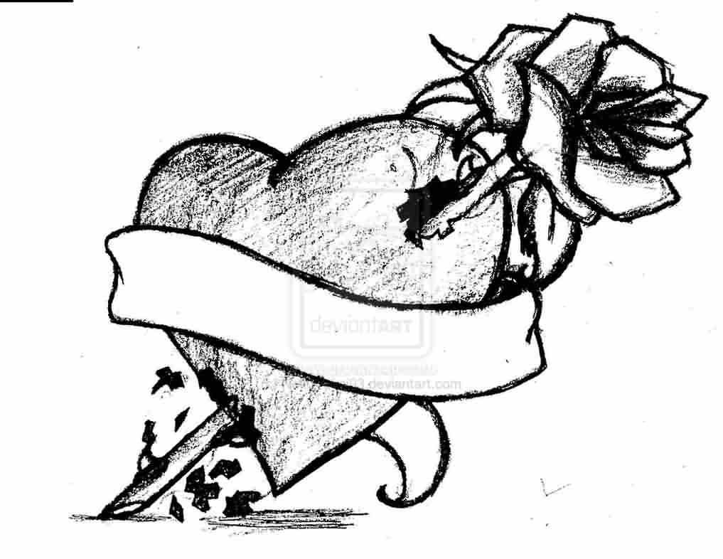 Banner Heart And Rose Tattoo Sketch