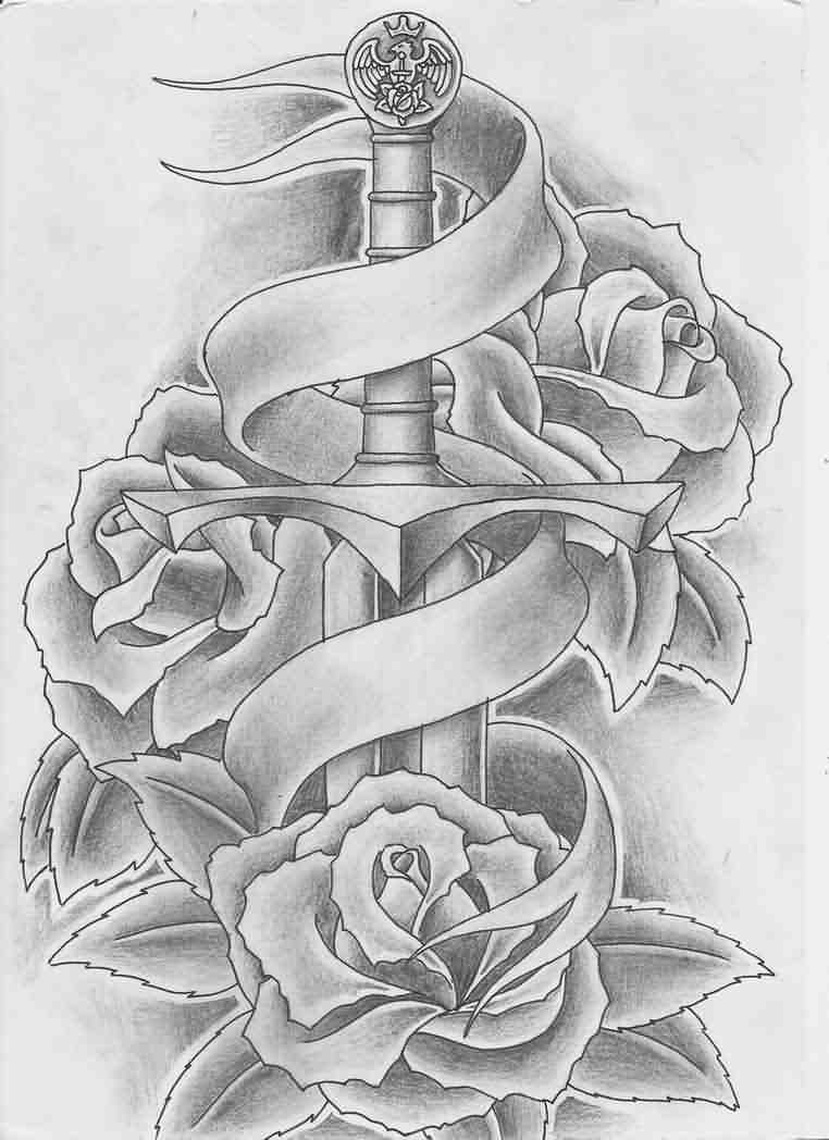 Banner Sword And Roses Tattoos Sketch
