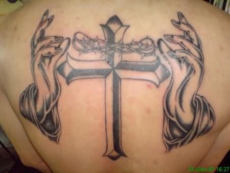 Barbed Cross And Hands Tattoos On Back