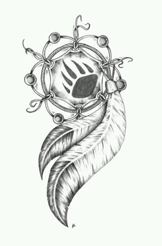 Bear Claw In Dreamcatcher Tattoo Design