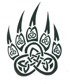 Bear Claw Tribal Tattoo Stencil