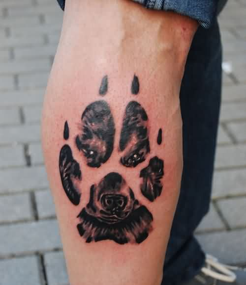 Bear Face In Paw Print Tattoo On Leg For Boys