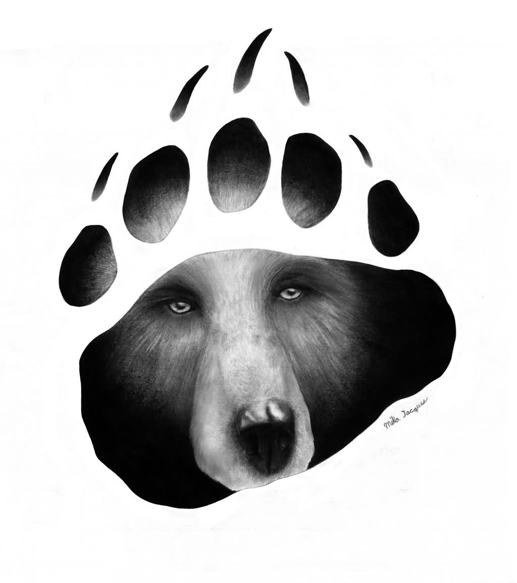Bear Face In Paw Print Tattoo Stencil
