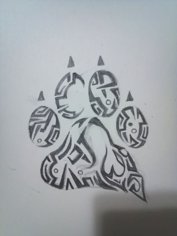 Bear Paw Tribal Tattoo Sketch