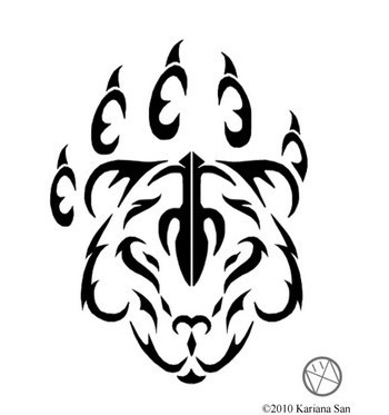 Bear Paw Tribal Tattoo Stencil