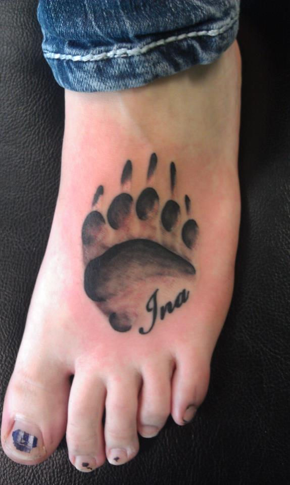 Bear Pawprint And Name Tattoos On Foot