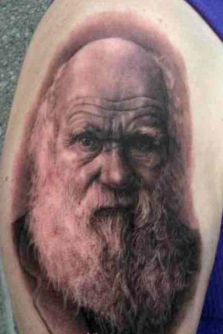 Bearded Old People Portrait Tattoo On Arm