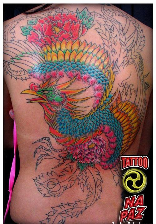 Beautiful Color Phoenix Tattoo