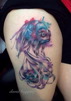 Beautiful Fish Pisces Tattoos On Thigh