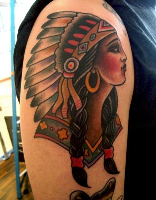 Beautiful Native American Woman Tattoo On Upper Arm