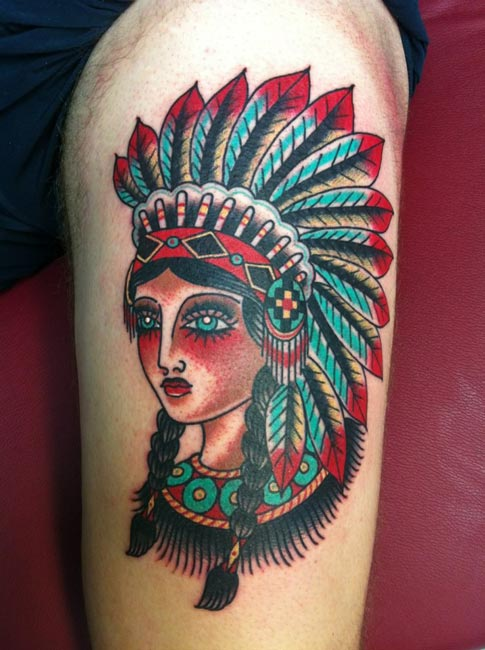 Beautiful Native American Woman Tattoo