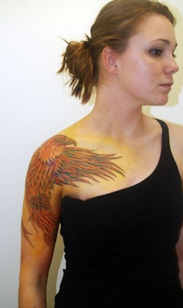 Beautiful Pheonix Tattoo From Arm To Chest