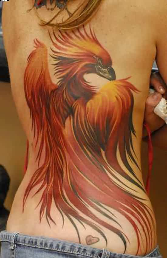 Beautiful Phoenix And Tiny Heart Tattoos On Back