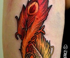 Beautiful Phoenix Feather Tattoo