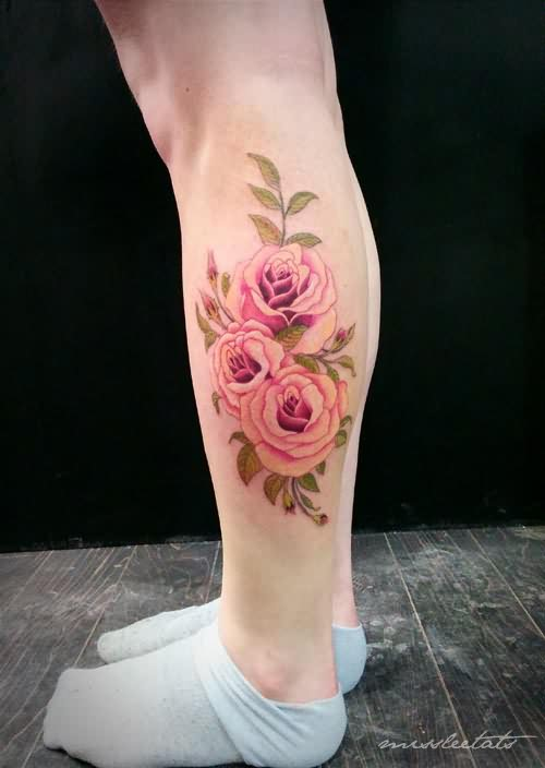 Beautiful Pink Roses Tattoos Fashion For Girls