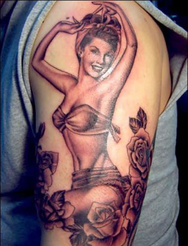 Beautiful Pinup Girl And Roses Tattoos On Arm
