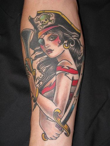 Beautiful Pirate Girl With Weapons Tattoos On Arm
