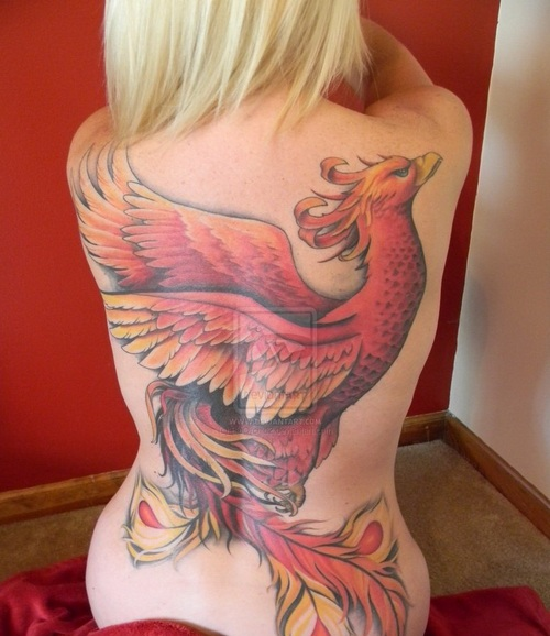 Beautiful Red Phoenix Tattoo On Back