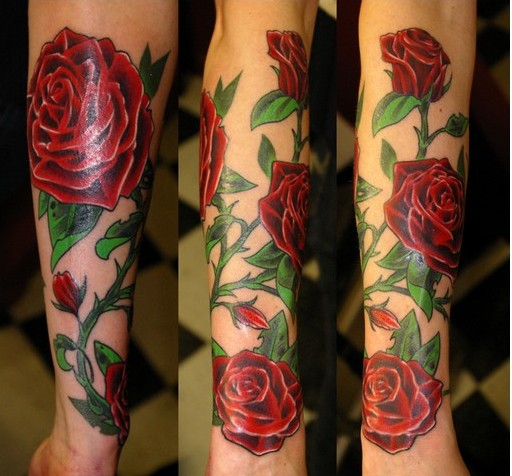 Beautiful Red Rose Vine Tattoos